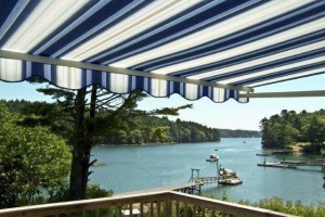 Blue Striped SunShade Awning Lakeside